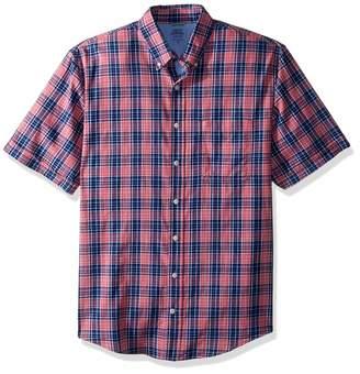 Izod Men's Tall Saltwater Dockside Button Down Short Sleeve Plaid Shirt
