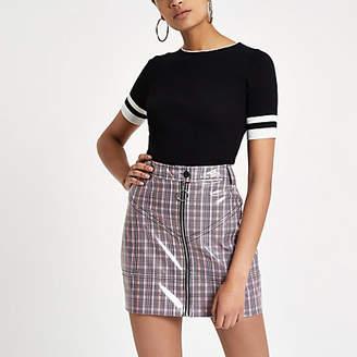 River Island Pink vinyl check mini skirt