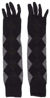 Prada Long Knit Gloves Navy Long Knit Gloves