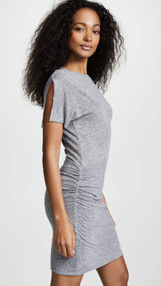 Monrow Slash Sleeve Shirred Dress