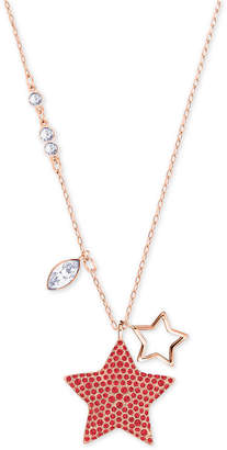 "Swarovski Rose Gold-Tone Red Crystal Star Pendant Necklace, 14"" + 2"" extender"