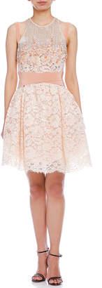 Elisabetta Franchi (エリザベッタ フランキ) - ELISABETTA FRANCHI レース ビーズ ビジュー 装飾 ウエストマーク ドレス ベージュ 40