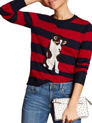 Brooks Brothers Red Fleece Striped Dog Merino Wool Sweater