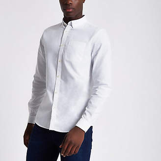 River Island White long sleeve casual Oxford shirt