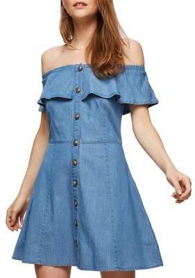 Miss Selfridge Frill Off-the-Shoulder Mini Dress
