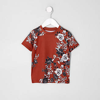 River Island Mini boys dark Orange floral T-shirt
