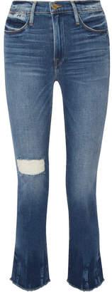 Frame Le High Distressed Straight-leg Jeans - Mid denim