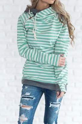 Ampersand Avenue DoubleHood Sweatshirt - Mint Stripe