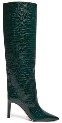 Jimmy Choo Mavis 85 Crocodile Effect Leather Boots - Womens - Dark Green