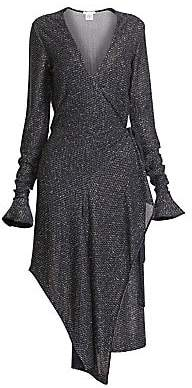 Chloé Women's Lurex Poet-Sleeve Asymmetric Midi Dress