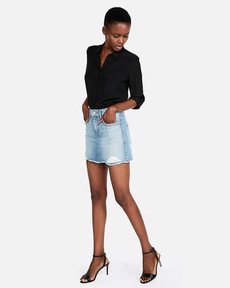Express Mid Rise Embellished Straight Denim Mini Skirt