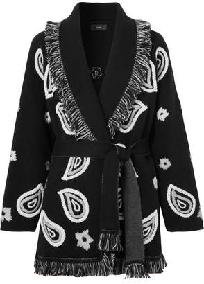 Alanui - Bandana Fringed Embroidered Cashmere Cardigan - Black