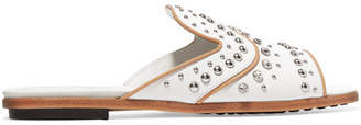 Tod's Embellished Leather Slides - White