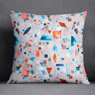 Giant Sparrows Watercolour Geometric Shapes Cushion Laura Munoz