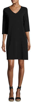 Eileen Fisher 3/4-Sleeve V-Neck Jersey Shift Dress, Plus Size