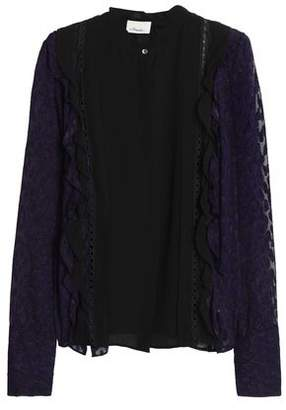 3.1 Phillip Lim Lace-Trimmed Fil Coupé Silk-Blend Blouse