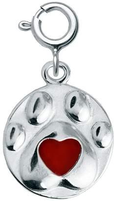 Sterling Dog Paw Red Epoxy Enamel Heart Charm
