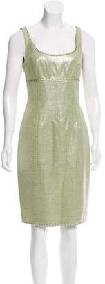 Carmen Marc Valvo Metallic-Accented Tweed Dress