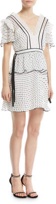 Self-Portrait Self Portrait V-Neck Short-Sleeve Dotted Frilled Short Cocktail Dress