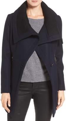 Trina Turk Maddi Knit Collar Cutaway Wool Blend Coat