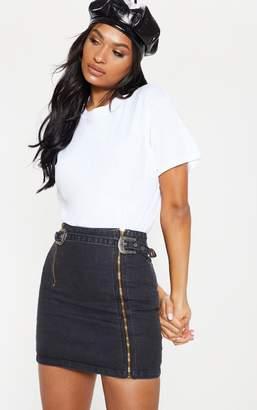 a5cd7a7e53 PrettyLittleThing Black Denim Western Belted Mini Skirt