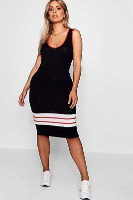boohoo NEW Womens Plus Sports Trim Midi Dress in Viscose 5% Elastane