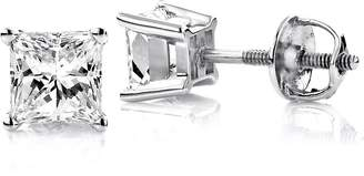 Luxurman 18k Gold Solitaire Princess Cut Diamond Stud Earrings (0.75 Cttw,H Color,SI Clarity)