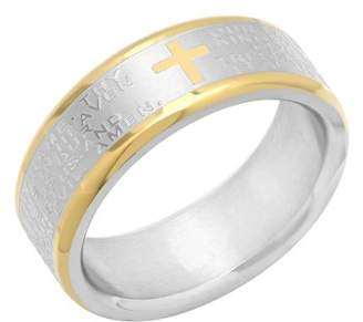 Brilliance+ Brilliance Fine Jewelry Men's Lord's Prayer Ring in Yellow and White Stainless Steel, 7mm