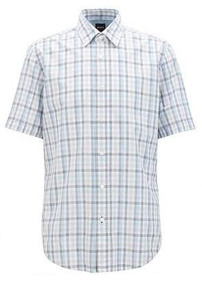 HUGO BOSS Regular-fit short-sleeved Vichy-check shirt in end-on-end cotton