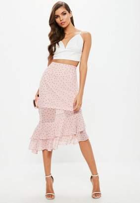 Missguided Pink Polka Dot Ruffle Wrap Front Asymmetric Hem Midi Skirt
