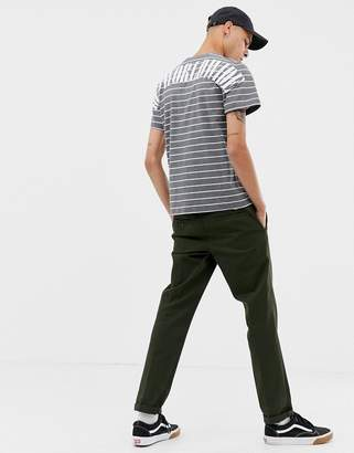 HUF Nevermind Striped T-Shirt With Back Logo In Grey
