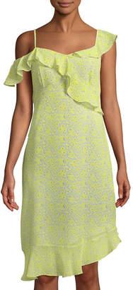 Nanette Lepore Nanette Asymmetric-Neck Floral-Print Dress