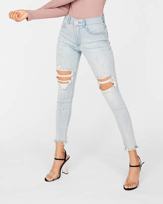Express Petite High Waisted Light Wash Ripped Denim Perfect Stretch+ Ankle Leggings