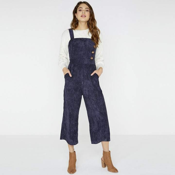Navy Reuben Corduroy Jumpsuit With Buttons