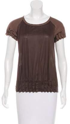 Fendi Silk-Accented Short Sleeve Top