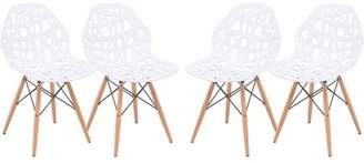 Mid-Century MODERN LeisureMod Akron Dining Side Chair With Wood Dowel Legs in White Set of 4