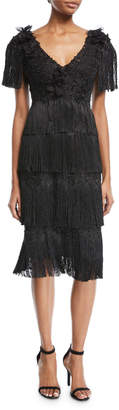 Marchesa Tiered Fringe Knee-Length Cocktail Dress