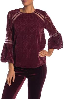 Laundry by Shelli Segal Flocked Puff Sleeve Top