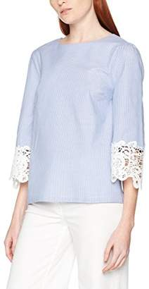 ENGLISH FACTORY Women's Lace Sleeve Detail Long Top, (Blue Stripes), (Size:Medium)