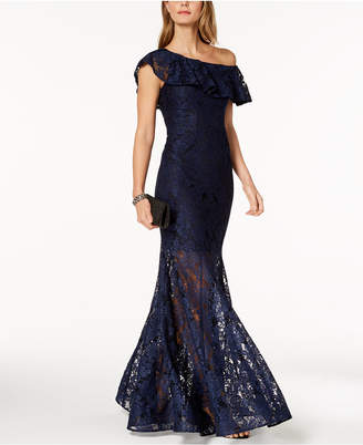Xscape Evenings One-Shoulder Ruffled Lace Illusion Gown
