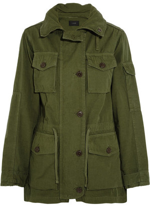 J.Crew - Hooded Cotton-canvas Field Jacket - Army green $180 thestylecure.com