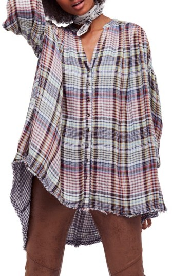 Women's Free People Come On Over Plaid Top