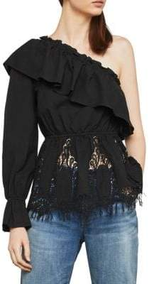 BCBGMAXAZRIA One-Shoulder Floral Embroidered Top