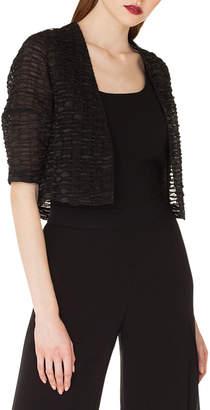 Ricarda Elbow-Sleeve Stripe-Ribbon Organza Short Jacket