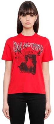 McQ Fear Nothing Print Cotton Jersey T-Shirt