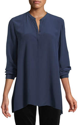 Eileen Fisher Long-Sleeve Silk Crepe de Chine Boyfriend Shirt, Plus Size