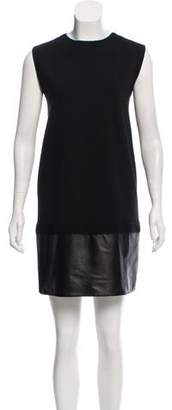 Giambattista Valli Leather-Trimmed Shift Dress
