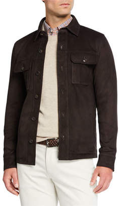 Peter Millar Men's Stretch Suede Button-Front Jacket