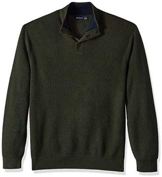 Nautica Men's Long Sleeve Button Mock Neck Sweater