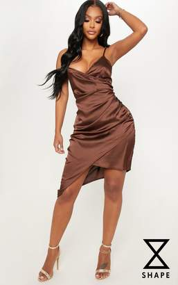 PrettyLittleThing Shape Chocolate Brown Satin Wrap Dress